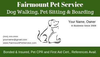 One version of my dog walking business card