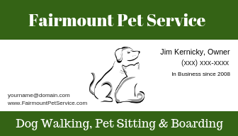 My dog walking business card with minimal text