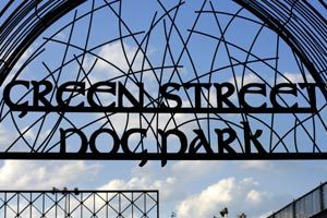 The iron wrought entrance for Green Street Dog PArk