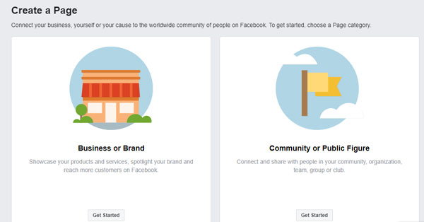 The Create page for a FB business page
