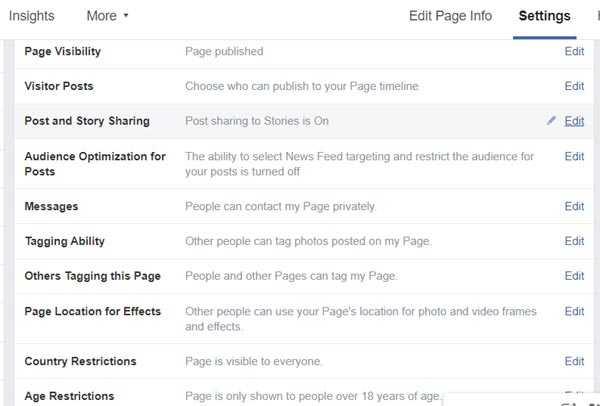 Feacebook business page general settings