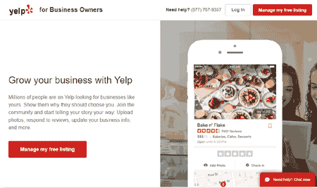 Yelp business account
